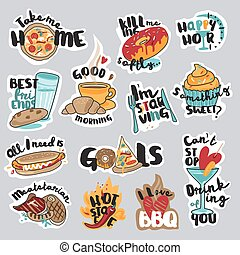 Set of stickers for social network