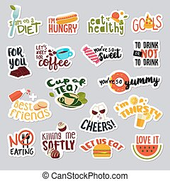 Set of food and drink stickers