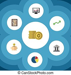 Flat Icon Gain Set Of Money Box, Growth, Chart And Other Vector Objects. Also Includes Building, Shiner, Architecture Elements.