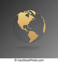 Vector Illustration of gold globe icons with different continents