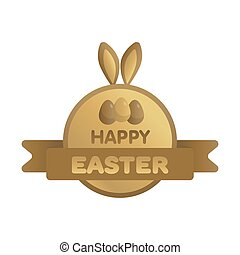 Easter gold label with ribbon. Bunny concept vector illustration