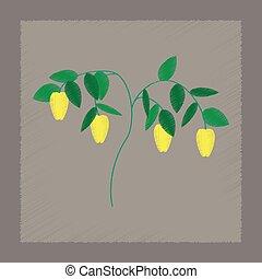 flat shading style illustration plant capsicum - flat...