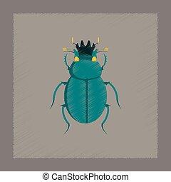 flat shading style illustration bug scarab - flat shading...