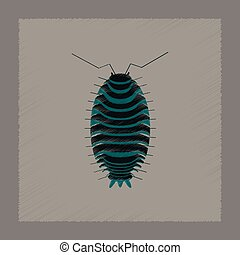 flat shading style illustration wood louse - flat shading...