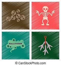 assembly flat shading style icons halloween skeleton sign...
