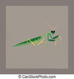 flat shading style illustration Mantis - flat shading style...