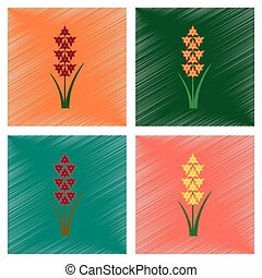 assembly flat shading style illustration gladiolus -...