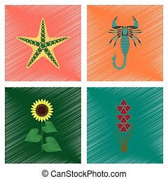 assembly flat shading style illustration starfish Scorpio...