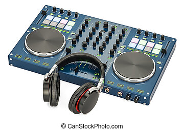 DJ Console with headphones, 3D rendering isolated on white...