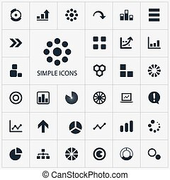 Vector Illustration Set Of Simple Chart Icons. Elements...