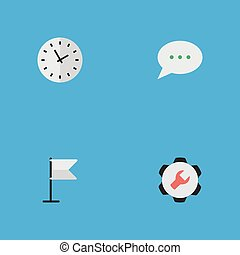 Vector Illustration Set Of Simple Menu Icons. Elements Settings, Time, Message Bubble And Other Synonyms Clock, Flag And Options.