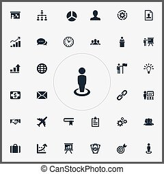Vector Illustration Set Of Simple Plan Icons. Elements...