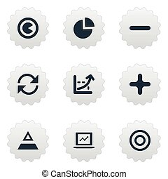 Vector Illustration Set Of Simple Diagram Icons. Elements Coordinate Axis, Pie Bar, Refresh And Other Synonyms Refresh, Segment And Add.