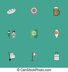 Vector Illustration Set Of Simple Vacation Icons. Elements Pub, Mark, Pair And Other Synonyms Hand, Mark And Bag.