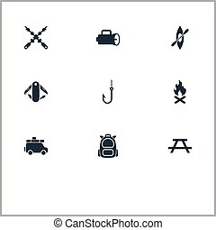 Vector Illustration Set Of Simple Outdoor Icons. Elements Minivan, Swiss Army Knife, Campfire And Other Synonyms Trip, Table And Bench.