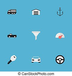 Vector Illustration Set Of Simple Shipping Icons. Elements Lorry, Open, Strainer And Other Synonyms Lock, Automobile And Armature.