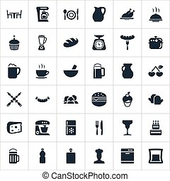 Vector Illustration Set Of Simple Kitchen Icons. Elements...