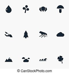Vector Illustration Set Of Simple Geo Icons. Elements Nature...