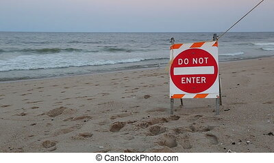 Ocean stop sign is not allowed to swim Do not swimming sign...