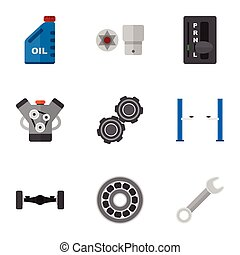 Flat Icon Workshop Set Of Motor, Turnscrew, Petrol And Other...
