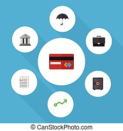 Flat Icon Finance Set Of Strongbox, Document, Growth And...