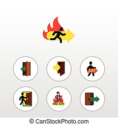 Flat Icon Emergency Set Of Entrance, Entry, Directional And Other Vector Objects. Also Includes Evacuation, Entry, Fire Elements.