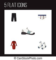 Flat Icon Dress Set Of Clothes, Pants, Foot Textile And Other Vector Objects. Also Includes Sneakers, Gumshoes, Garment Elements.