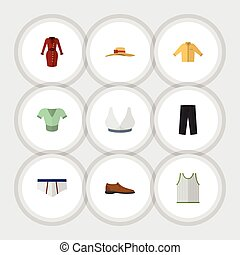 Flat Icon Garment Set Of Banyan, Pants, Singlet And Other Vector Objects. Also Includes Underclothes, Banyan, Underwear Elements.