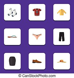 Flat Icon Garment Set Of T-Shirt, Male Footware, Elegant Headgear And Other Vector Objects. Also Includes Trousers, Man, Footware Elements.