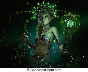 Green Lumi, 3d CG - 3d computer graphics of a little fairy...