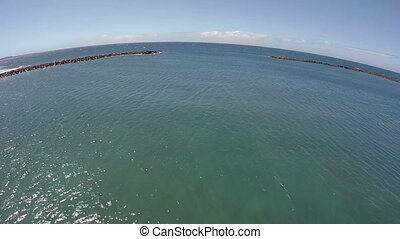 Flying the camera over the sea