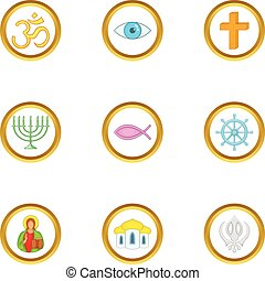 Religion symbols icons set, cartoon style
