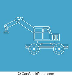 Crane truck icon outline - Crane truck icon blue outline...