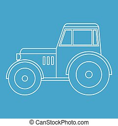 Tractor icon outline - Tractor icon blue outline style...