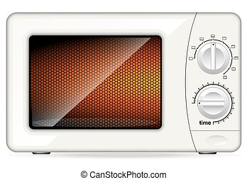 White plastic microwave oven. Mechanical control. Closed...