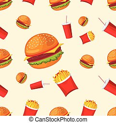 Vector seamless pattern of fries, coca-cola and hamburger. Cute fast food.