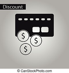 black and white style icon bank card - black and white style...
