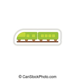 paper sticker on white background train