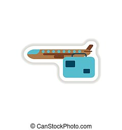 paper sticker on white background aircraft luggage . Airplane and suitcase