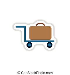 paper sticker on white background suitcase on trolley