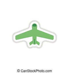 paper sticker on white background airplane