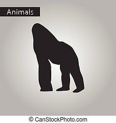 black and white style icon of gorilla
