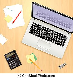Office workplace concept. Laptop computer, calculator, pencil, flash drive, sticky notes and paper sheets on wooden background.