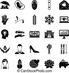 Divertissement icons set, simple style - Divertissement...