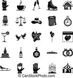 Elation icons set, simple style - Elation icons set. Simple...