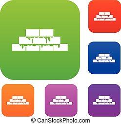 Brickwork set collection - Brickwork set icon in different...