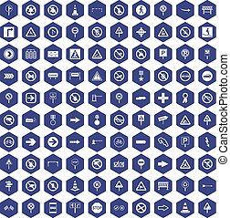 100 road signs icons hexagon purple - 100 road signs icons...