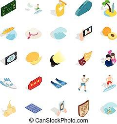Gladness icons set, isometric style