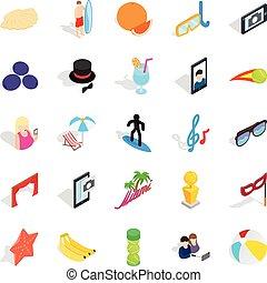 Rejoicing icons set, isometric style - Rejoicing icons set....