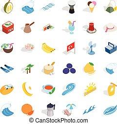 Turkey travel icons set, isometric style - Turkey travel...